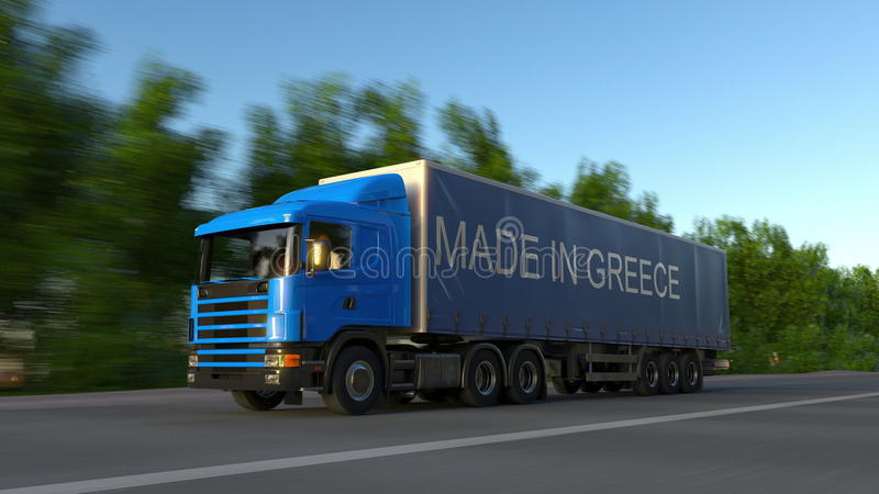 Camión de la carga que apresura semi con HECHO EN el subtítulo de GRECIA en el remolque Transporte del cargo del camino represent imagen de archivo libre de regalías