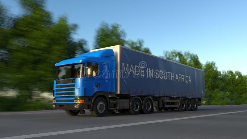 Camión de la carga que apresura semi con HECHO EN el subtítulo de SURÁFRICA en el remolque Transporte del cargo del camino repres fotografía de archivo libre de regalías