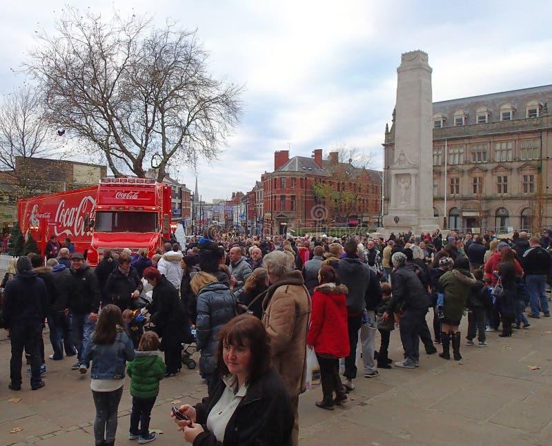 Camión de la Coca-Cola en Preston imagen de archivo libre de regalías