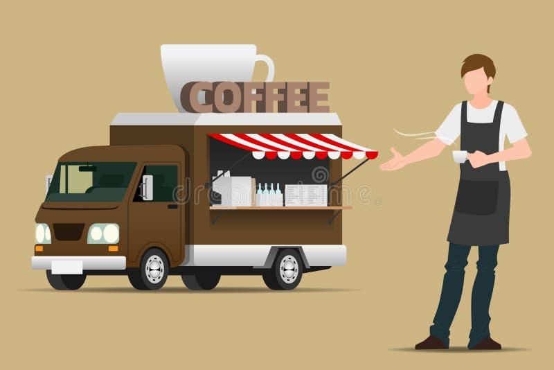 Camión de la comida, café móvil, bebidas calientes o del hielo listas para servir en la atmósfera al aire libre como pequeña empr ilustración del vector
