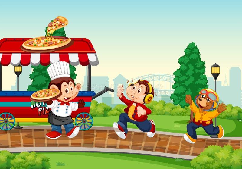 Camión de la comida en el parque stock de ilustración