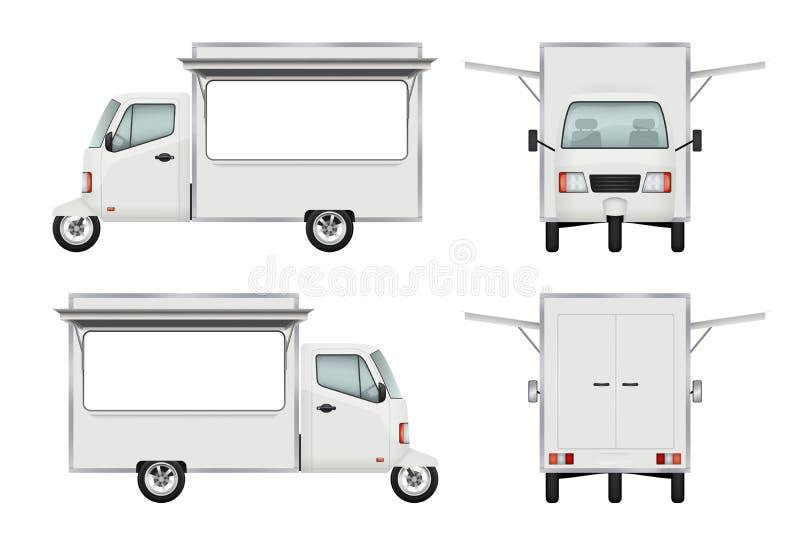 Camión de la comida realista Ejemplos de abastecimiento del vector 3d del servicio de la ventana abierta del camión del transport ilustración del vector
