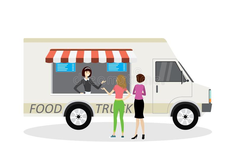 Camión de la comida, vendedor en frente y opinión trasera de los compradores, van moderna trans stock de ilustración