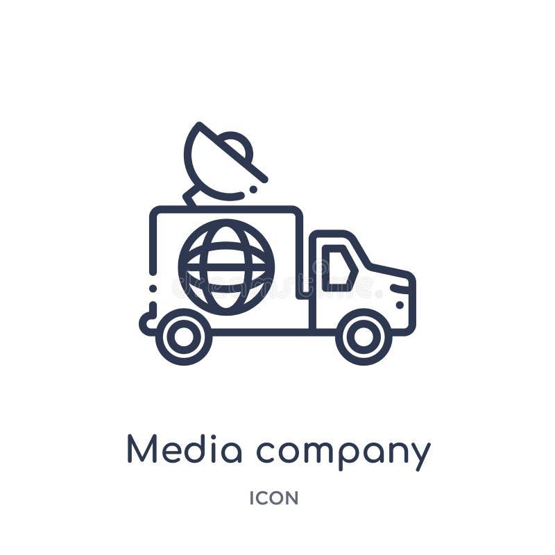 camión de la compañía de los medios con el icono por satélite de la colección del esquema del transporte Línea fina camión de la  ilustración del vector