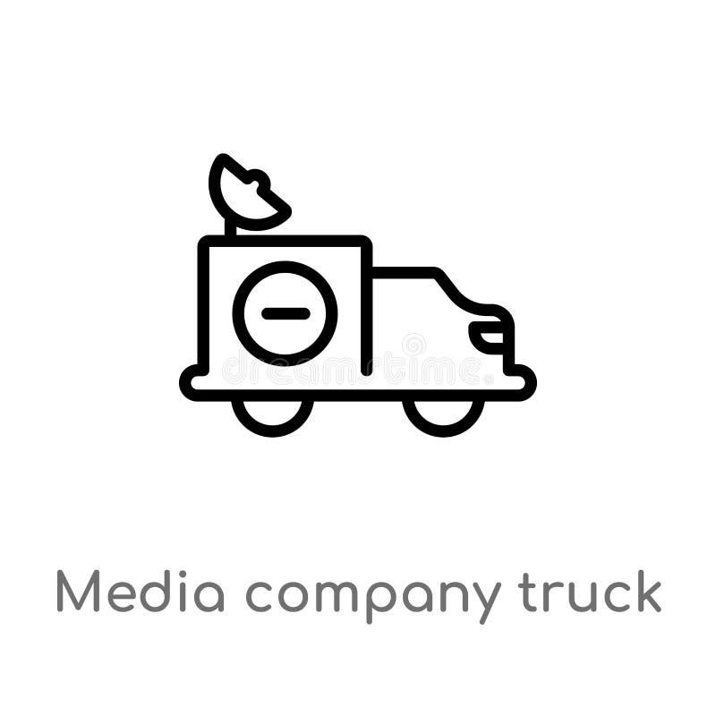 camión de la compañía de los medios del esquema con el icono por satélite del vector l?nea simple negra aislada ejemplo del eleme stock de ilustración