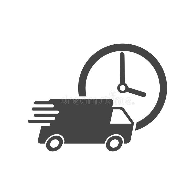 Camión de la entrega 24h con el ejemplo del vector del reloj 24 horas ayunan stock de ilustración