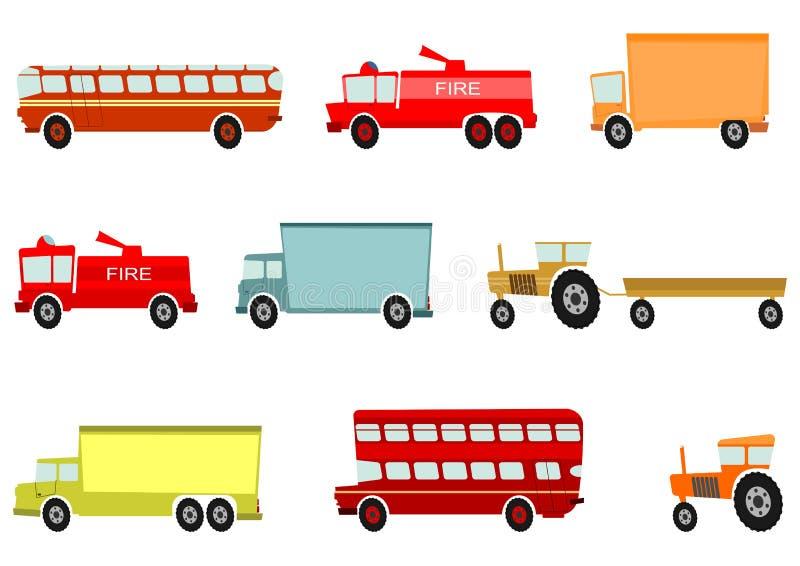 Camión de la historieta y otros vehículos pesados ilustración del vector