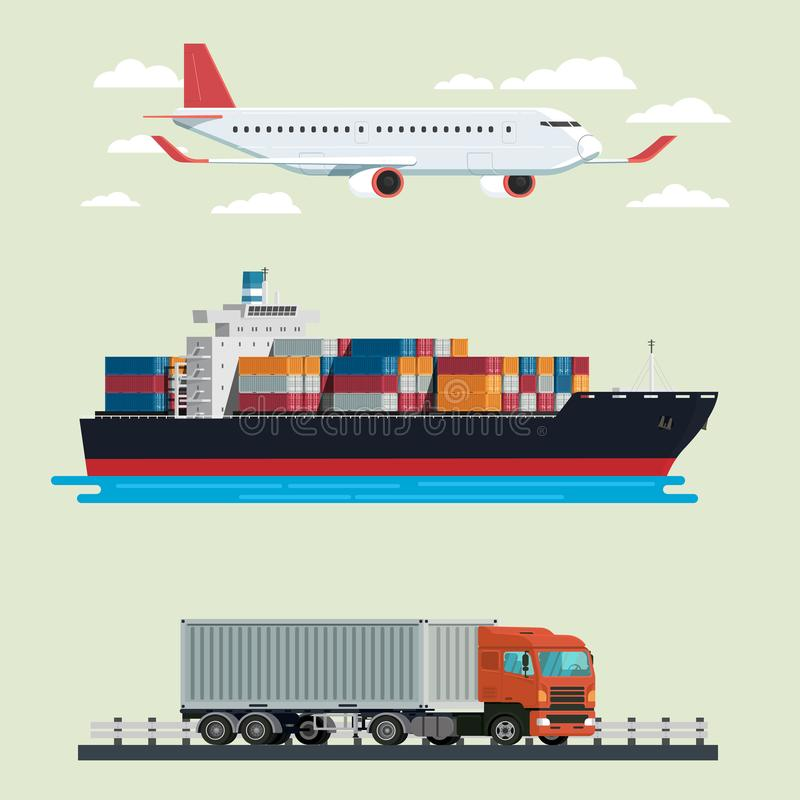 Camión de la logística del cargo, portacontenedores y viaje plano Illustra stock de ilustración