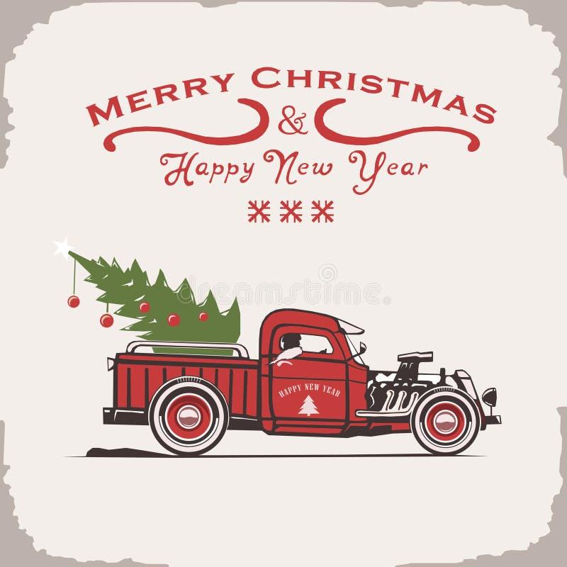 Camión de la Navidad, vista lateral, imagen del vector, viejo estilo de la tarjeta ilustración del vector