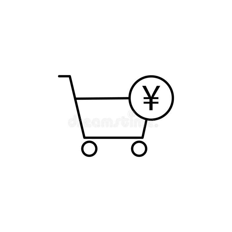 Camión de las compras, icono del yuan Elemento del ejemplo de las finanzas Las muestras y el icono de los símbolos se pueden util ilustración del vector