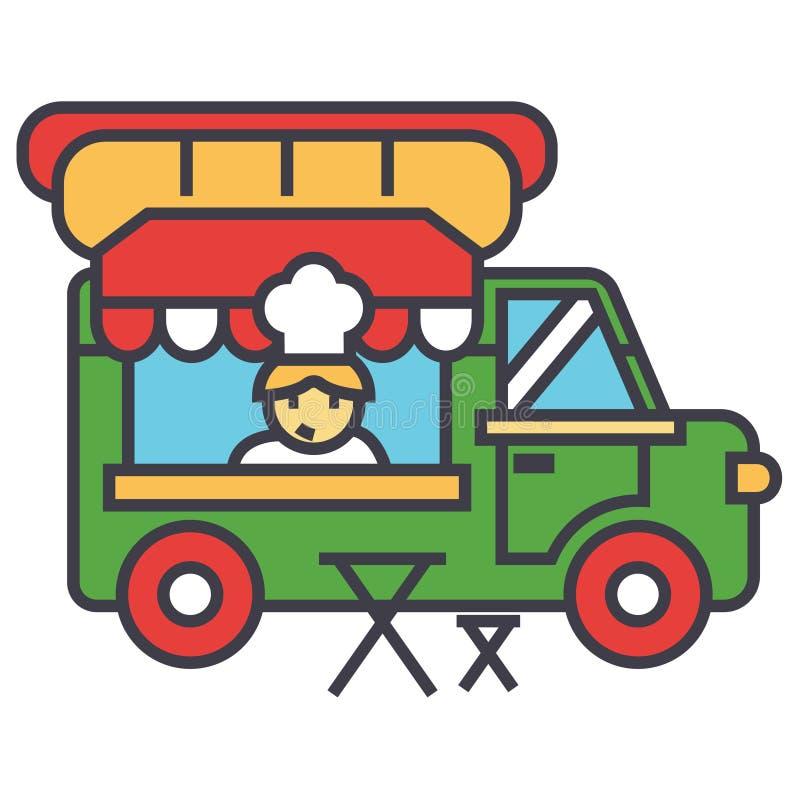 Camión de los alimentos de preparación rápida, comida de la calle, concepto móvil de la cocina libre illustration