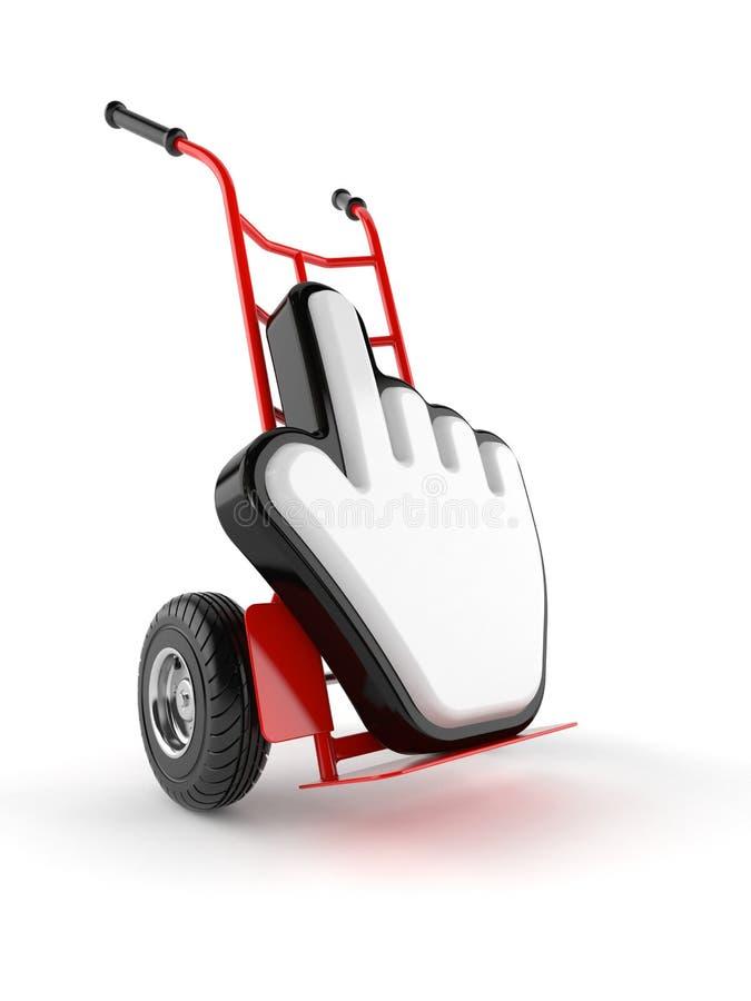 Camión de mano con el icono del cursor ilustración del vector