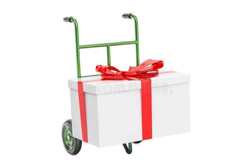 Camión de mano con el rectángulo de regalo Concepto de la entrega del regalo, representación 3D stock de ilustración