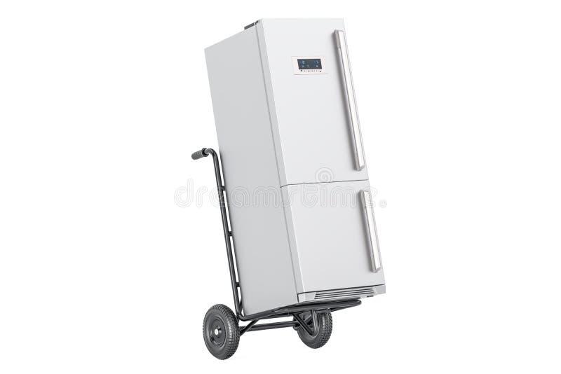 Camión de mano con el refrigerador Entrega del dispositivo representación 3d libre illustration