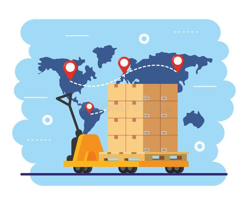 Camión de mano con las cajas y las muestras de la ubicación del mapa libre illustration