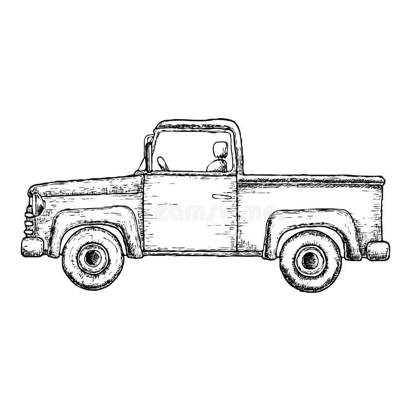 Camión de recogida del bosquejo stock de ilustración