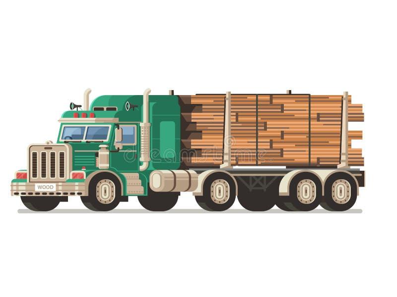 Camión de registración con los registros de la madera ilustración del vector