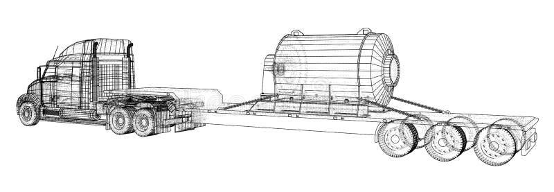 Camión de remolque modelo Alambre-marco Vehículo de cargo Representación del vector de 3d stock de ilustración