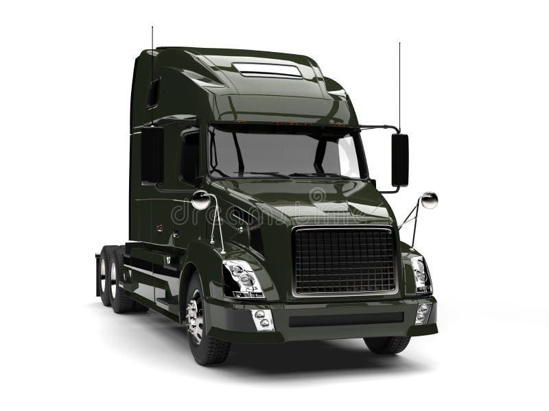 Camión de remolque oscuro del verde verde oliva semi stock de ilustración