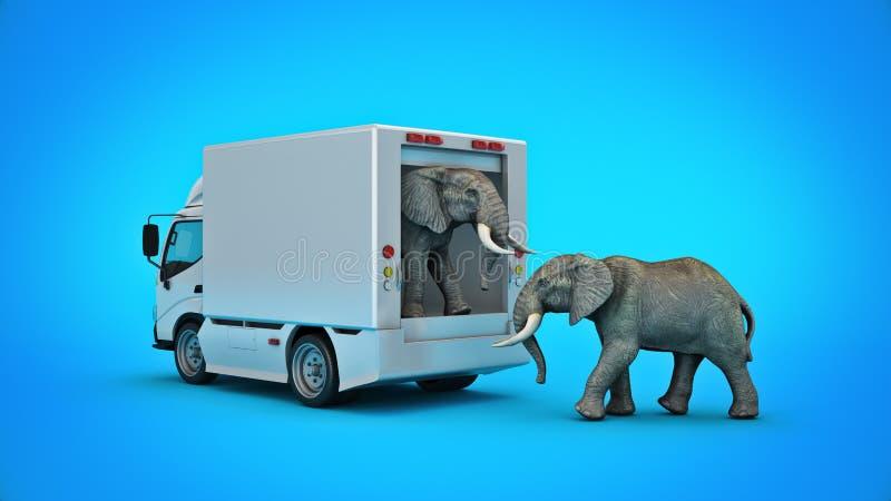 Camión de reparto blanco con un elefante representaci?n 3d libre illustration
