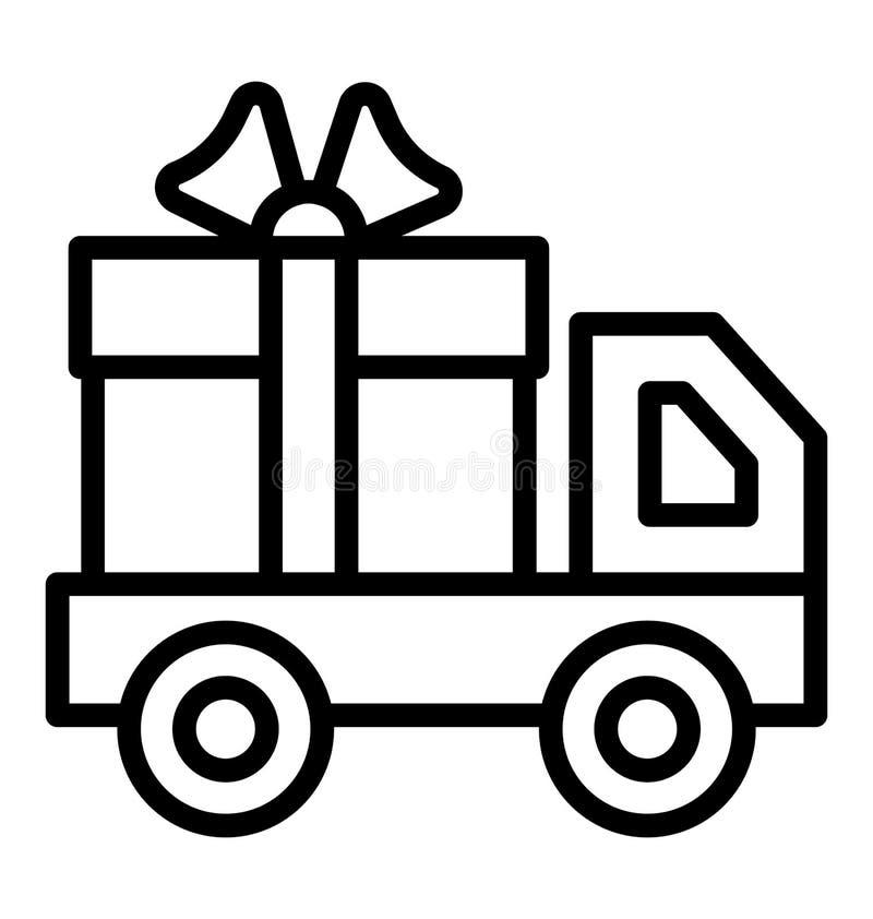 Camión de reparto, con el icono aislado del vector de la caja de regalo que puede ser modificado o corregir fácilmente en cualqui libre illustration