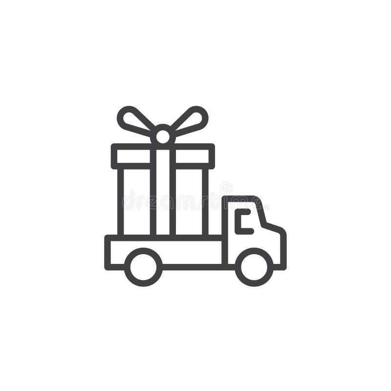 Camión de reparto con el icono del esquema de la caja de regalo ilustración del vector