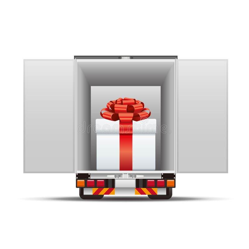 Camión de reparto con la caja de regalo libre illustration