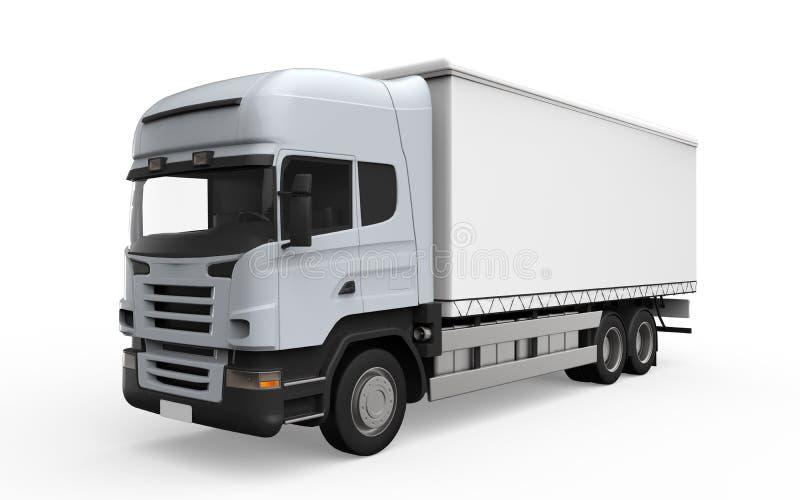 Camión de reparto del cargo aislado en el fondo blanco ilustración del vector