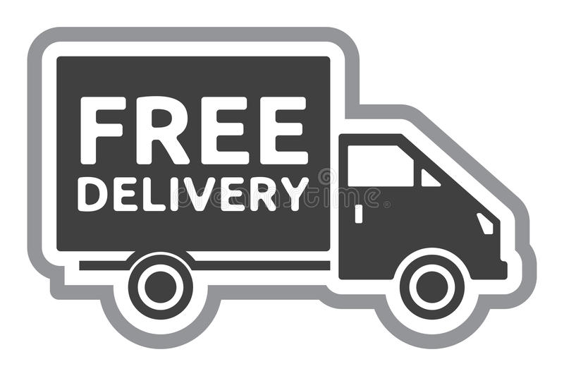 Camión de reparto gratuito - etiqueta de envío gratis stock de ilustración