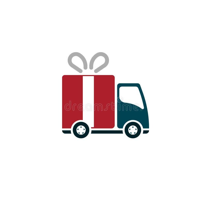 Camión de reparto linear con la caja de regalo stock de ilustración