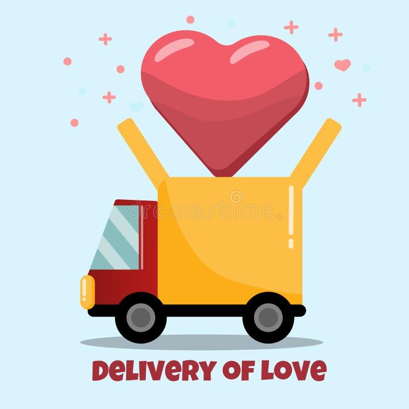 Camión de reparto plano con el vuelo del corazón fuera de él tarjeta de felicitación, cartel, bandera, logotipo, icono libre illustration