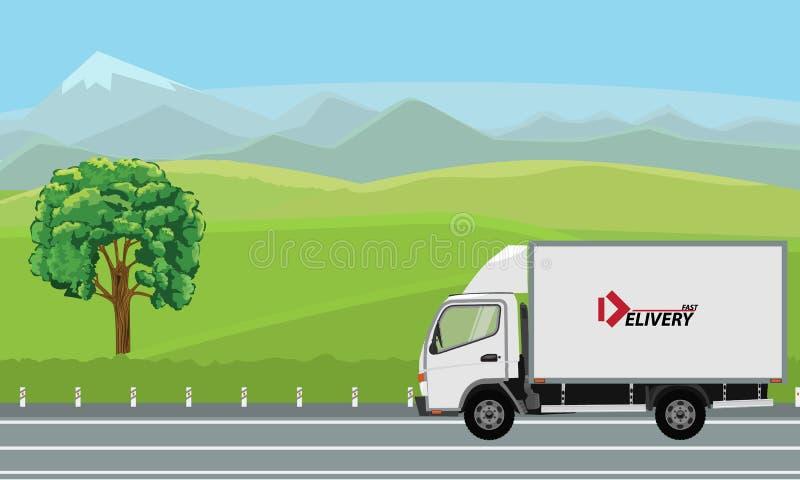 Camión de reparto que pasa por paisaje hermoso en el camino libre illustration