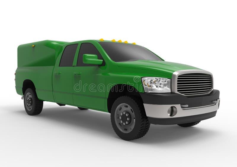 Camión de reparto verde del vehículo comercial con un taxi doble y una furgoneta Máquina sin insignias con un cuerpo vacío limpio ilustración del vector