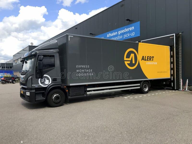 Camión de transporte de Alerta Logística acoplada fotografía de archivo