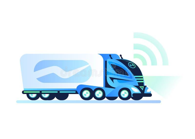 Camión de uno mismo-conducción autónomo en el fondo blanco Vehículo teledirigido Camión sin tripulación, concepto futurista futur ilustración del vector