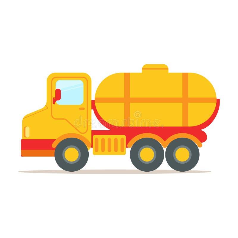 Camión del cargo con el tanque para transportar los líquidos, ejemplo colorido del vector de la historieta libre illustration