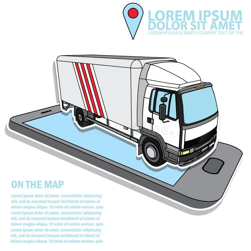 Camión del cargo de la entrega del vector en negocio del transporte stock de ilustración