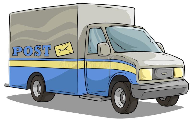 Camión del cargo del transporte de la entrega del poste de la historieta stock de ilustración