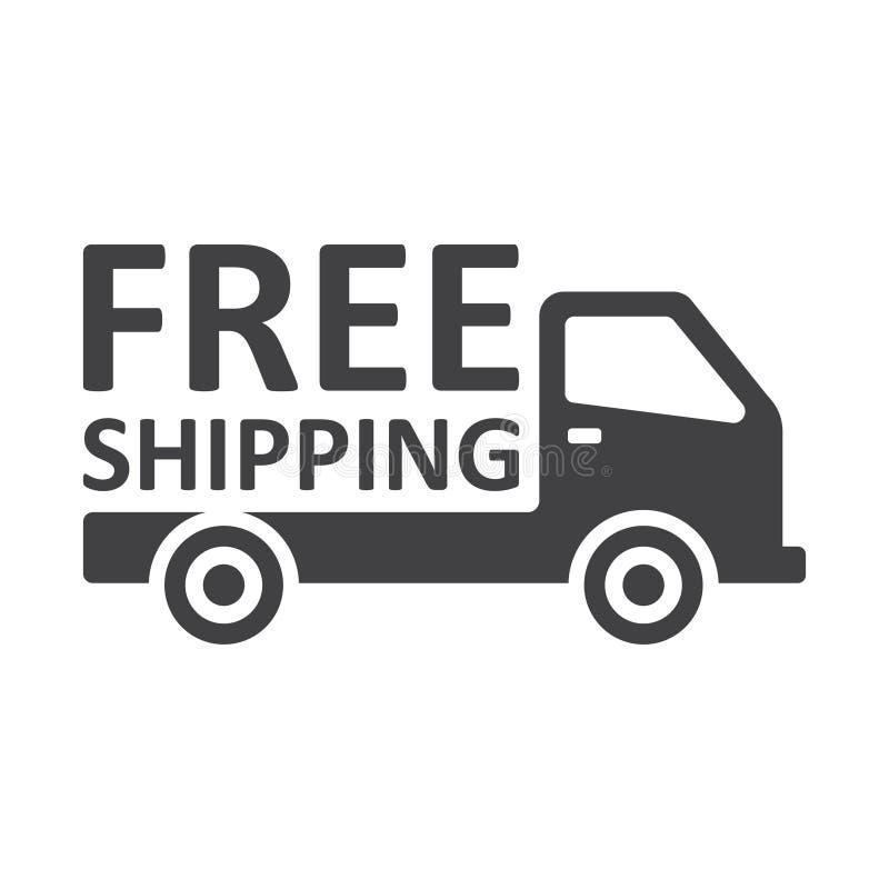 Camión del envío gratis en el fondo blanco stock de ilustración
