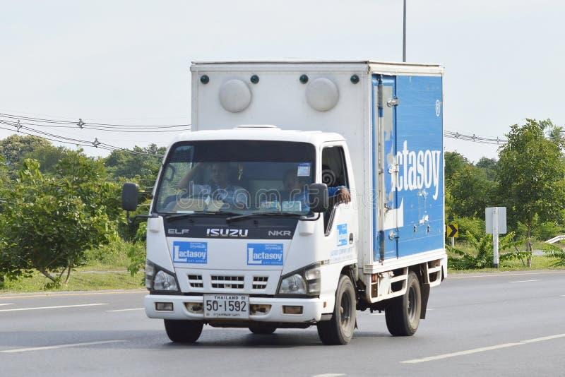 Camión del envase de Lactasoy Company fotos de archivo