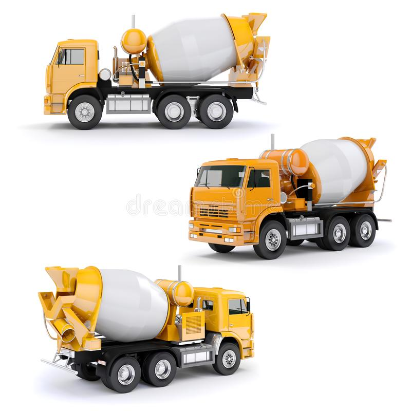 camión del mezclador concreto 3d ilustración del vector
