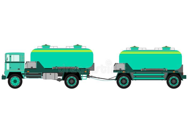 Camión del tanque con el remolque ilustración del vector