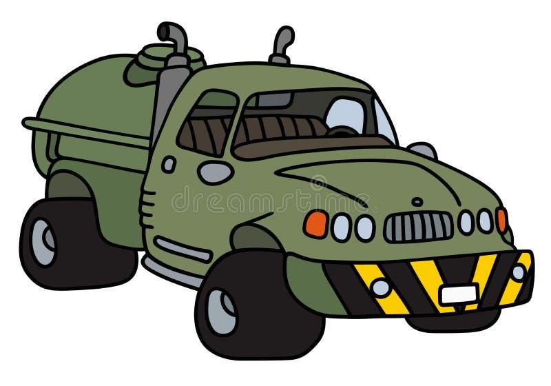 Camión del tanque verde divertido ilustración del vector