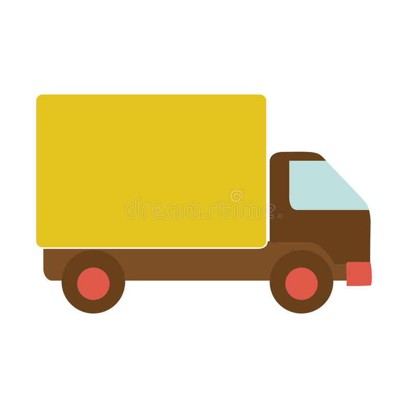 Camión del transporte con el carro y las ruedas amarillos ilustración del vector