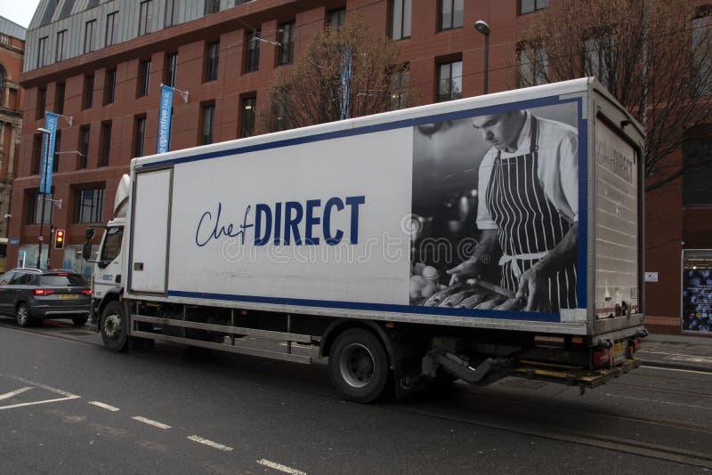 Camión Directo Chef En Manchester Inglaterra 2019 fotos de archivo libres de regalías
