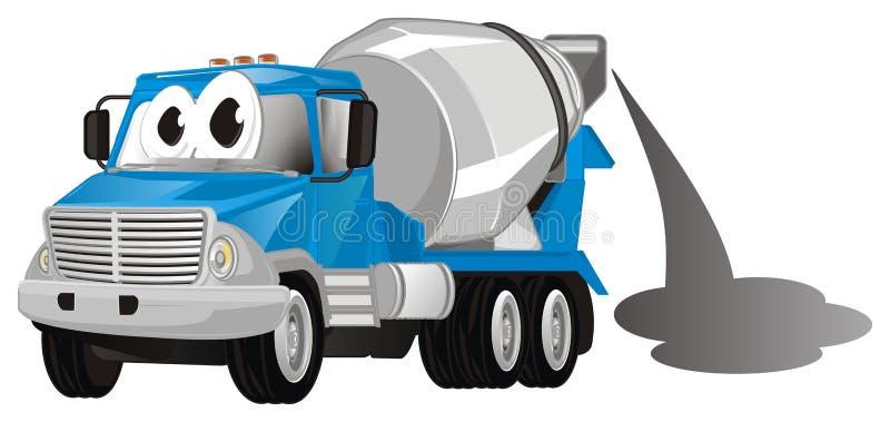 Camión divertido con el cemento ilustración del vector