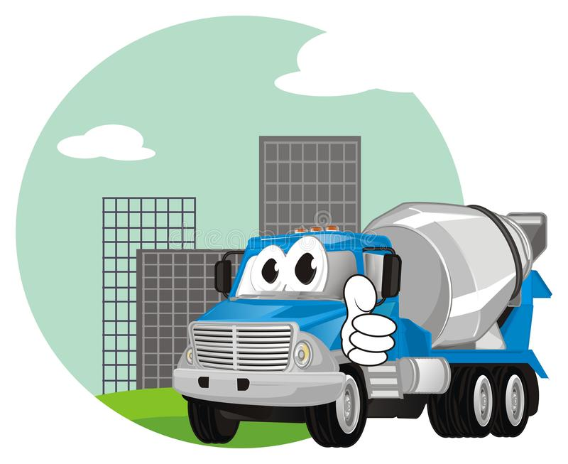 Camión divertido del cemento en ciudad ilustración del vector