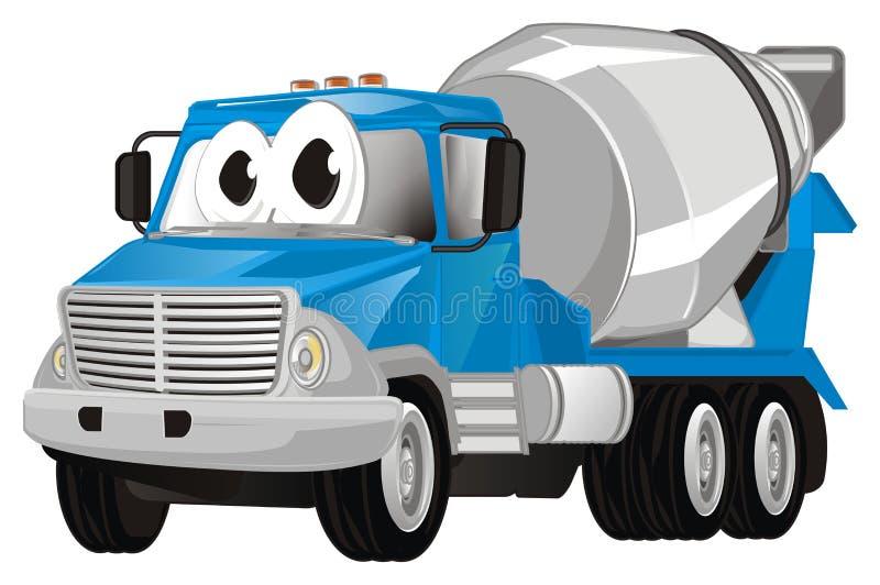 Camión divertido del cemento stock de ilustración