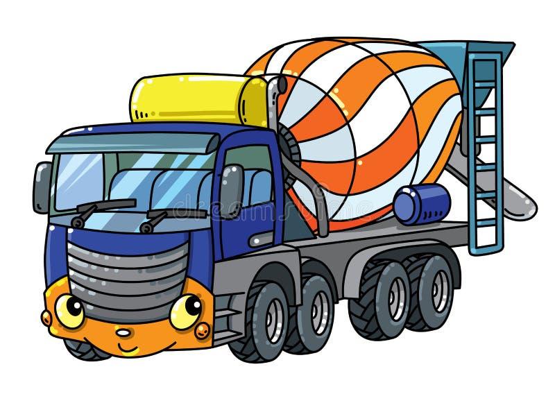 Camión divertido del mezclador concreto con los ojos y la boca ilustración del vector