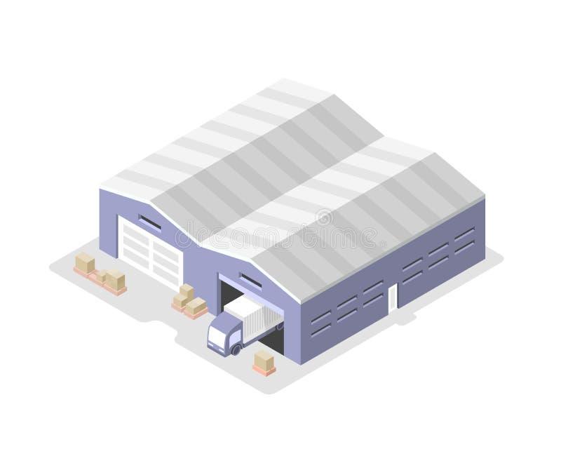Camión en Warehouse. Centro de distribución stock de ilustración